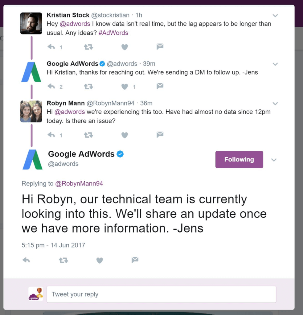 AdWords Twitter Response to Data Leak