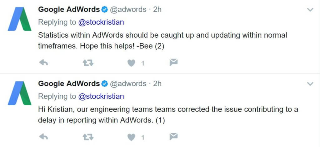 adwords data delay fix response