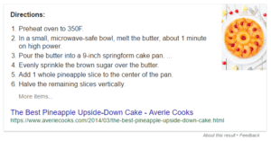 Featured Snippet Example - Cooking Instructions