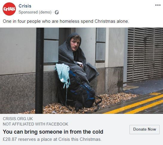 Crisis facebook ad