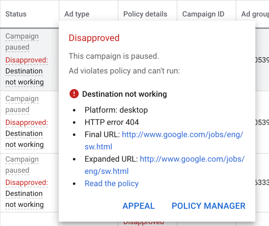 Screenshot of the appeal button in Google Ads dashboard