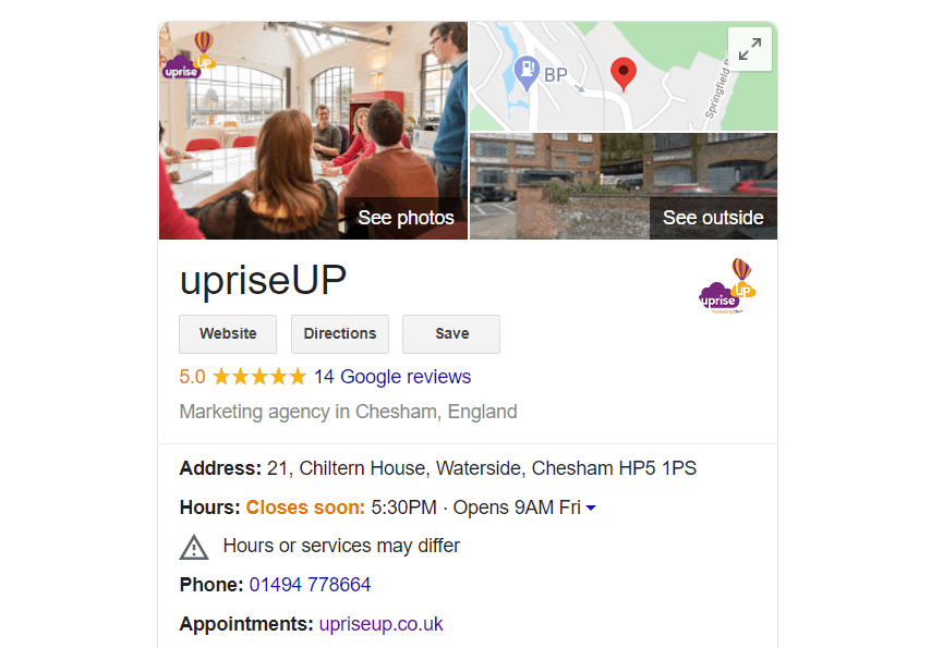 upriseUP Google My Business Listing with differing hours warning