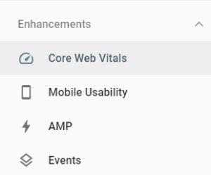 Core Web Vitals on Search Console Dashboard