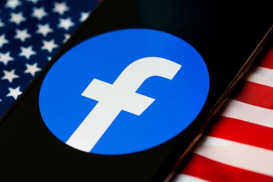 Facebook logo over the American flag