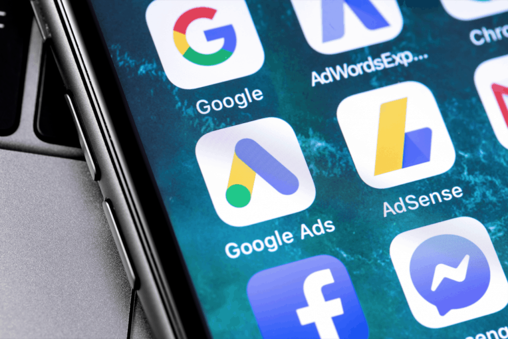 Google Ad Icons on a phone screen