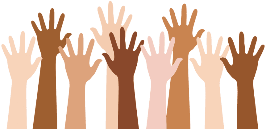Hands of different colours reaching into the air