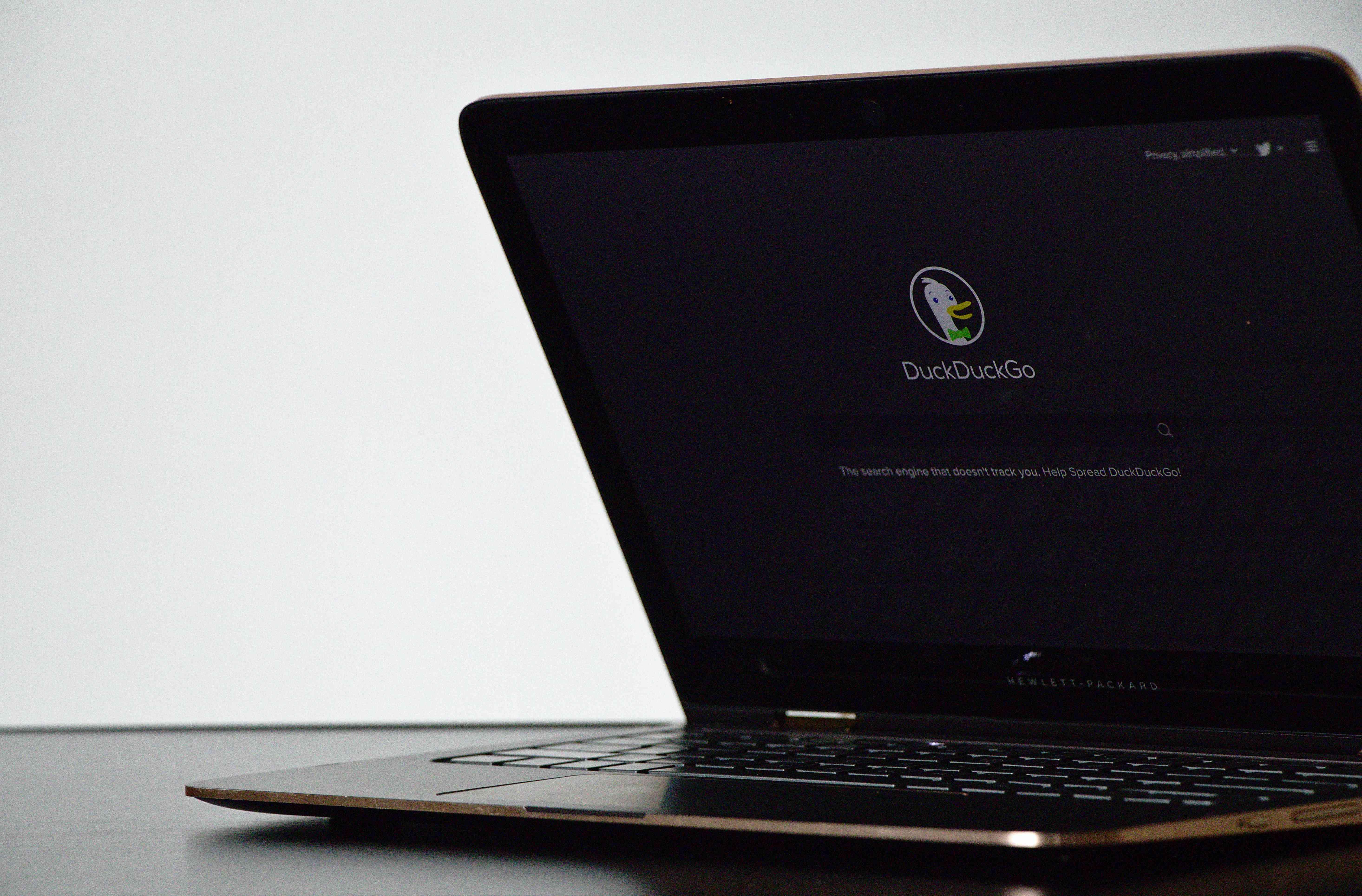 DuckDuckGo search engine on laptop.